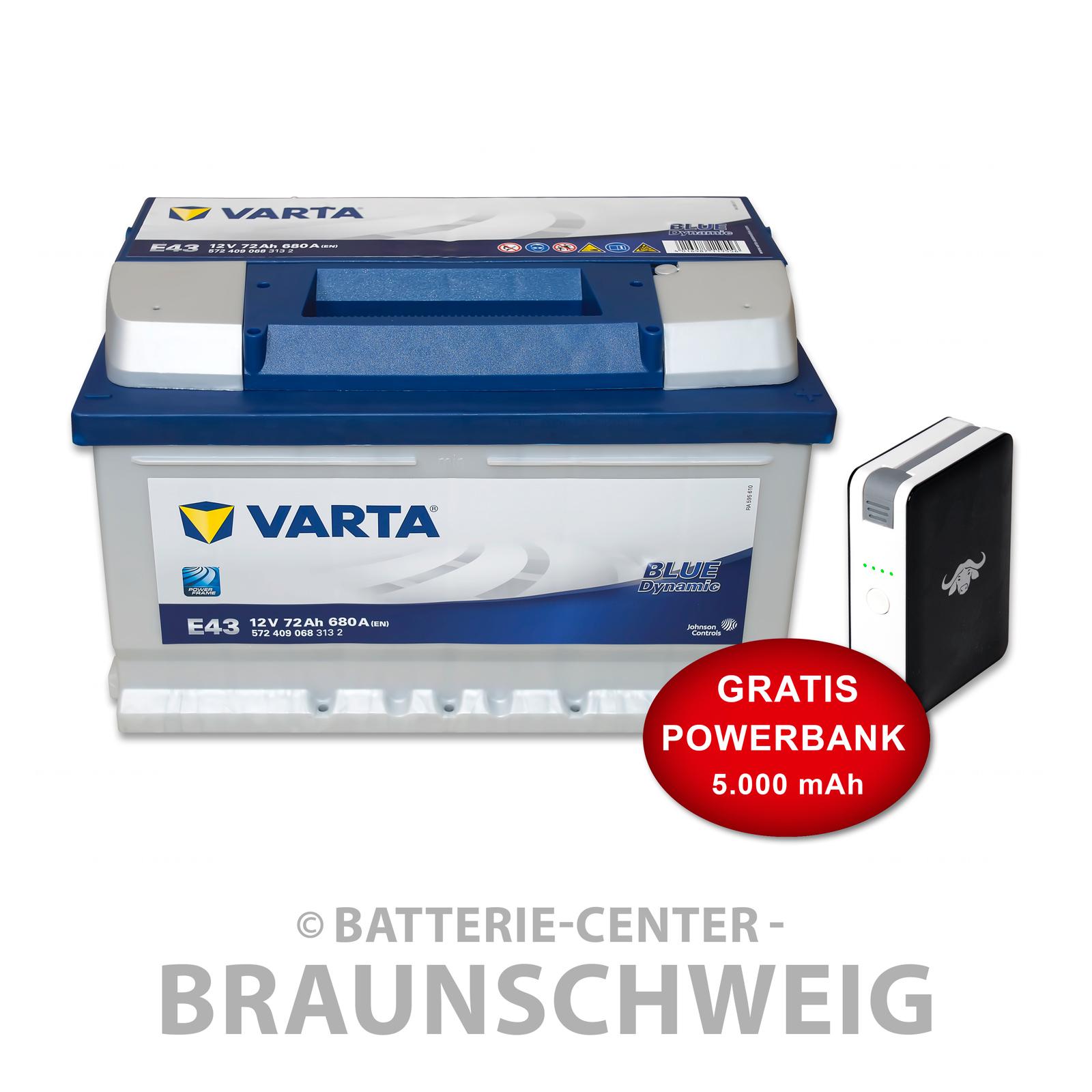 autobatterie e43 12 v 72 ah 680 a en varta blue kfz inkl 5 ah powerbank ebay. Black Bedroom Furniture Sets. Home Design Ideas
